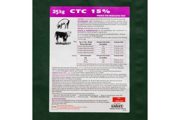 CTC 15% w/w Premix for Medicated Feed 25Kgs
