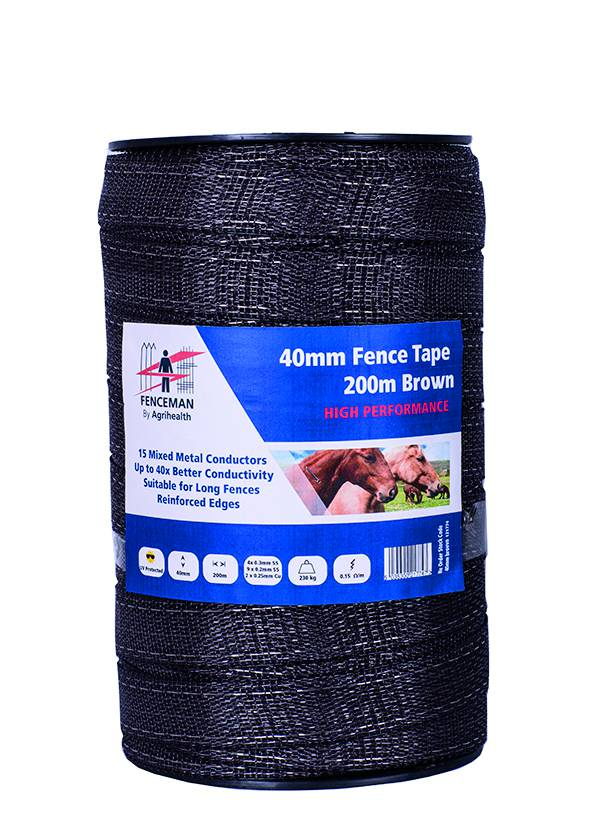 Fenceman Tape Brown 40mm 200m High Perf