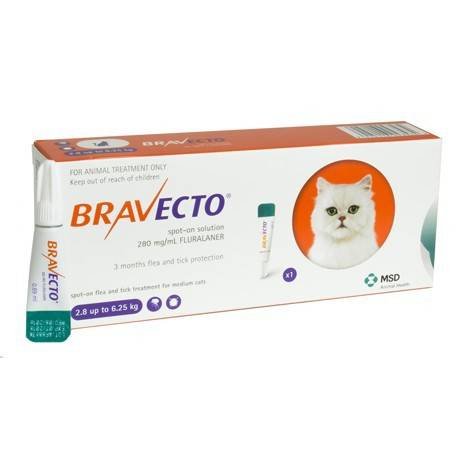 Bravecto Spot On Cat 2.8Kg - 6.25Kg 250mg x single pipette