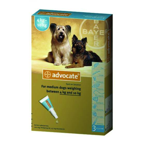 Advocate S.O. Medium Dogs 4-10 Kg 3x1.0ml